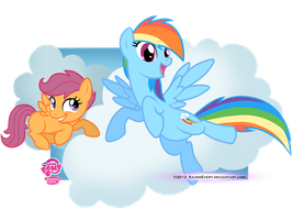 Scootaloo and RainbowDash by RavenEvert