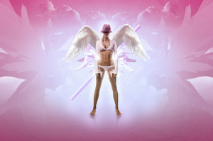 Angel On The Pink Sky by hewoldok