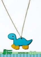 Rainy Day Dino Necklace by brandimillerart