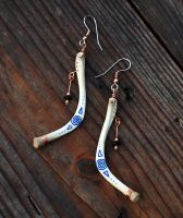 Blue Spirals Bone Earrings by DreamingDragonDesign