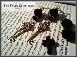 Gothic earrings 'Skull key' by TheSpiderStratagem