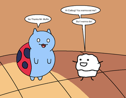 Catbug Meets Mr. Muffin by AfroOtaku917