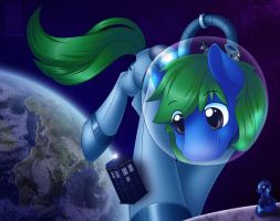 Commission: A Tardis in Space...and Ponies by SkyHeavens