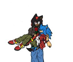 Happy late B-day to Sonic and Shadow by Lalitia