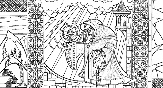 Beggar Woman Stained Glass Coloring Page by Richard67915