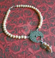Peach Pearl Steampunk Necklace by dbvictoria