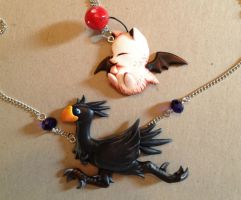 Black Chocobo and Moogle buddies by Gatobob