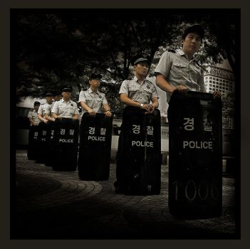 Police in the Park, Seoul by Yan-ikB