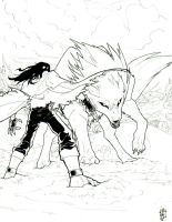 Vincent vs. Giant Wolf by Merystic