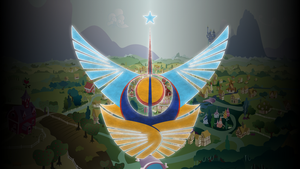 Celestia/Luna Crest over Ponyville by Mateo-theFox