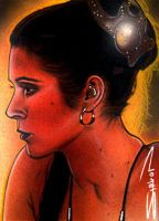 Slave Leia Sketch Card 3 by RandySiplon