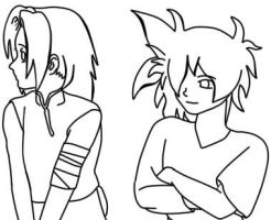 Ariana and Gohan Lineart by Star-is-the-bomb