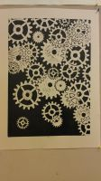 Clockwork lino print close up by silent-assassin-XIII