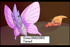 Enemy DRAGONITE Fained! by indesomniac