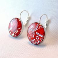 Red Circuit Board Earrings by Techcycle