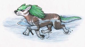 Swimming Wolf Link by DancingCavy