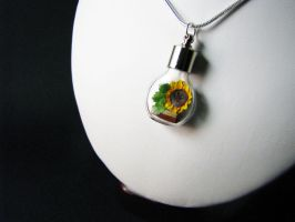 Miniature Origami Sunflower Necklace by Paper-Peaches