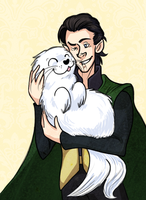 Loki with a seal by pai-draws