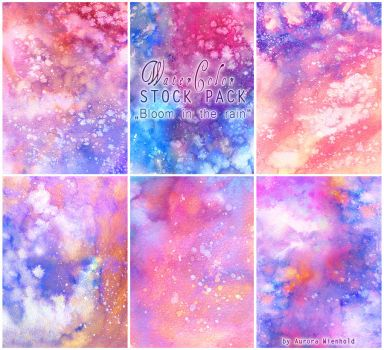 Bloom in the rain - WATERCOLOR STOCK PACK by AuroraWienhold