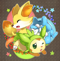 Fennekin, Froakie, and Chespin by Jiayi