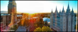 SLC Temple Sunset Panoramic by JLFEclipse