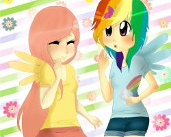 Fluttershy x Rainbow by mylittlerennie