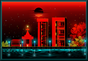 Cityscape Red sky by sptanwar