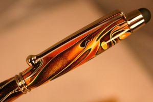 Pen stylus in swirling orange acrylic and gold by HopeAndGracePens