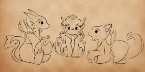 Skyward Sword: Chibi Dragons -- WIP by cakecrumbs