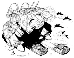 Commander Mech Inked Drawing by Mecha-Zone