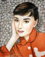 Audrey Hepburn in Red Coat by Schnellart