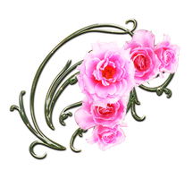 pink roses and green swirls png 2 by Melissa-tm