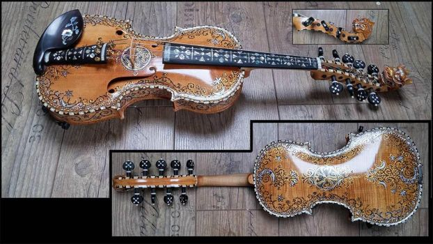 Hardanger fiddle with unique design and dragonhead by deviantviolins