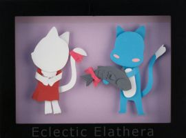 Happy and Carla Fairy Tail Paper Art by elathera