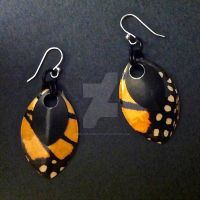 Monarch Butterfly Double Scalemaille Earrings by Rosie-Periannath