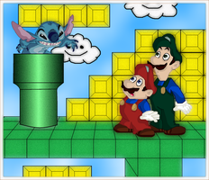 Stitch Meets Mario and Luigi by andy-pants