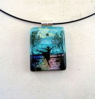 Swan Lake Fused Glass Necklace Pendant by FusedElegance