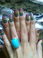 my rainbow leopard nails by justxlikexyou