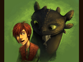 Toothless and Hiccup by Ondinel