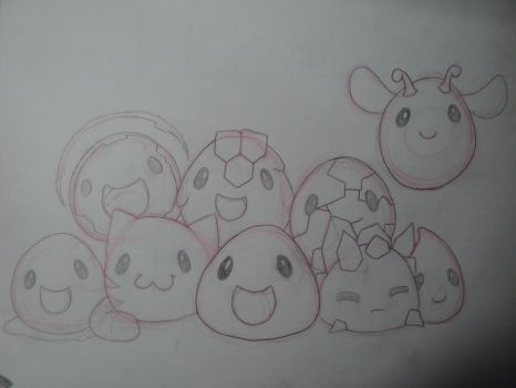 Slimes [Slime Rancher] [Sketch] by Domenica-chan999