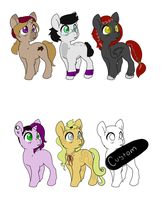 6 ponies : CLOSED by InuLover097