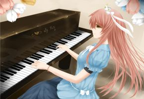 Claudia with piano by Pinlin