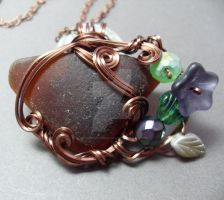 Chocolate hued Sea Glass in Antiqued Copper by sojourncuriosities