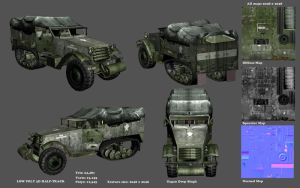 LowPoly Half Track Model Sheet by GDSWorld