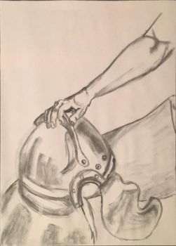 Figure Drawing: Ancient Helmet by Nathan-Brice-Art