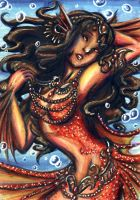 ACEO-Crimson Mermaid by Ai-Don