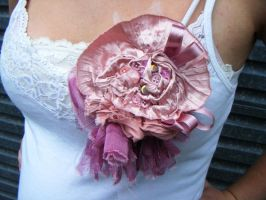 pink shabby rose brooch by rosieok