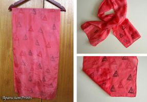 Deathly Hallows Small Red Silk Scarf by lazylinepainterjane