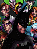 Batman and the Rogues Gallery Print by rusting-angel