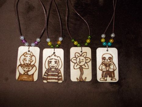 Undertale Hand burnt Necklaces. by Tazimo